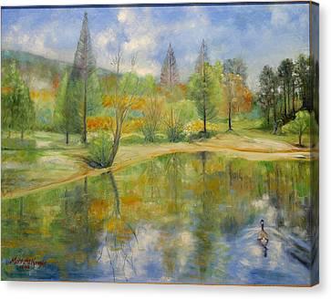 Lake In Springtime. Canvas Print by Max Mckenzie