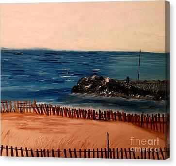 Canvas Print featuring the painting Lake Michigan Blues by Ayasha Loya