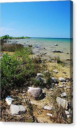 Canvas Print featuring the photograph Lake Michigan Shoreline On A Sunny Afternoon by Janice Adomeit