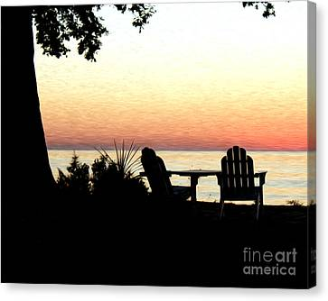 Canvas Print featuring the photograph Lake Michigan Sunset by Anne Raczkowski
