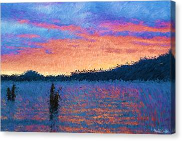 Lake Quinault Sunset - Impressionism Canvas Print by Heidi Smith