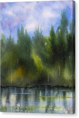Lake Reflecting Trees Canvas Print by Debbie Homewood