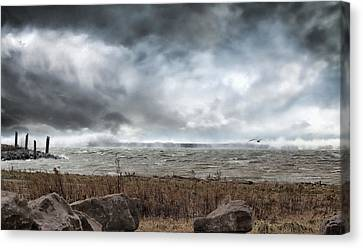 Lake Storm Canvas Print by Peter Chilelli