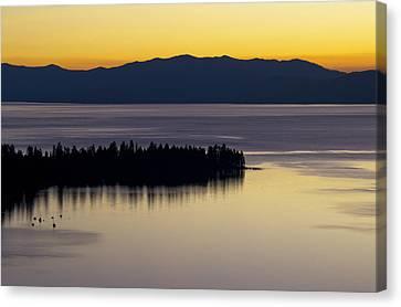 Lake Tahoe Silhouette - California Canvas Print by Brendan Reals