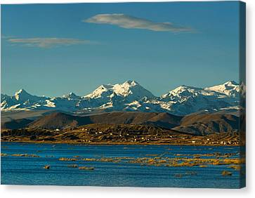 Lake Titicaca And The Cordillera Real In The Background.republic Of Bolivia. Canvas Print by Eric Bauer