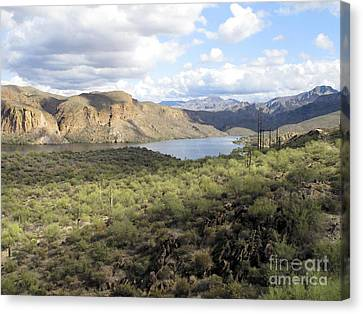 Canvas Print featuring the photograph Lake View From Arizona Hwy by Leslie Hunziker
