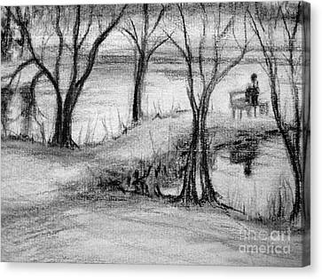 Canvas Print featuring the photograph Lake Watcher by Gretchen Allen