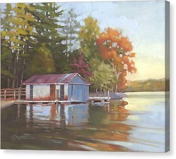 Lake Wylie Canvas Print - Lake Wylie Boathouse by Todd Baxter
