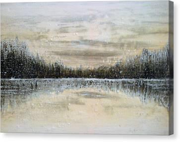 Lake Wylie Canvas Print - Lake Wylie Snow by Jackie Dunford