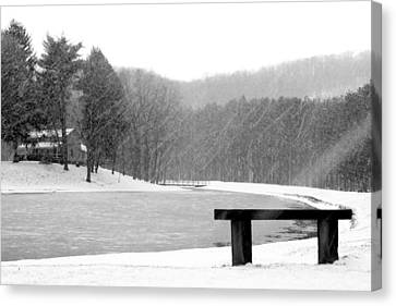 Canvas Print featuring the photograph Lakeside Bench by Michelle Joseph-Long