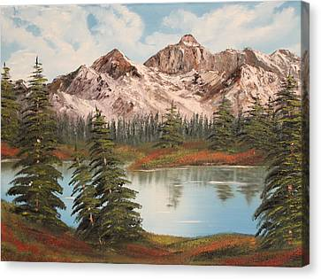 Canvas Print featuring the painting Lakeside by Christie Minalga