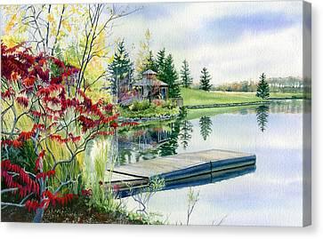 Lakeside Gazebo Canvas Print by Hanne Lore Koehler