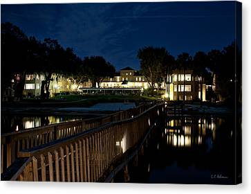 Lakeside Inn At Night Canvas Print by Christopher Holmes