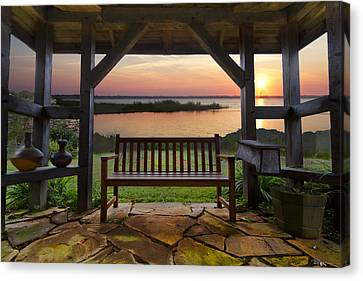 Lakeside Serenity Canvas Print by Debra and Dave Vanderlaan