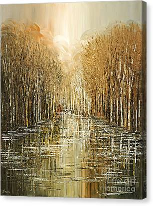 Canvas Print featuring the painting Lakeside Song by Tatiana Iliina