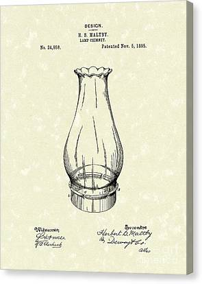 Oil Lamp Canvas Print - Lamp Chimney 1895 Patent Art by Prior Art Design