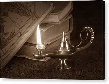 Oil Lamp Canvas Print - Lamp Of Learning by Tom Mc Nemar