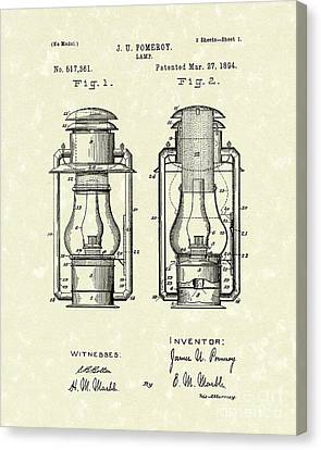 Oil Lamp Canvas Print - Lamp Pomeroy 1894 Patent Art by Prior Art Design