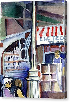 Lamp Post In The Cafe Canvas Print by Mindy Newman