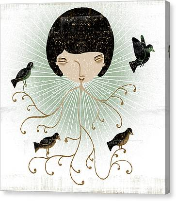 Four Animal Faces Canvas Print - Lana Smiles by Luciano Lozano