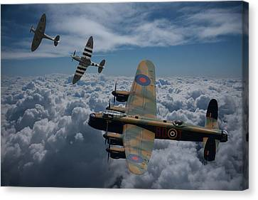 Lancaster Bomber And Spitfires Canvas Print