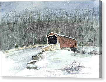 Canvas Print featuring the painting Lancaster County Covered Bridge In The Snow  by Nancy Patterson