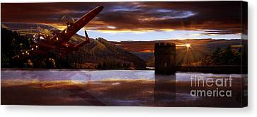 Lancaster Over Howden Dam Canvas Print
