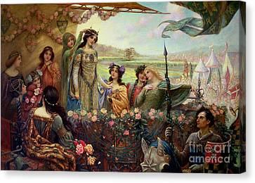 Lancelot And Guinevere Canvas Print by Herbert James Draper