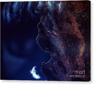 Land And Water From Satellite Canvas Print by Stocktrek Images