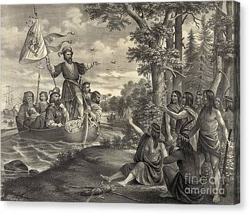 Landing Of Christopher Columbus Canvas Print by Photo Researchers