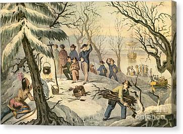 Landing Of The Pilgrims At Plymouth Canvas Print by Photo Researchers