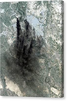 Landsat Image Of Baghdad Showing Dark Canvas Print by Everett