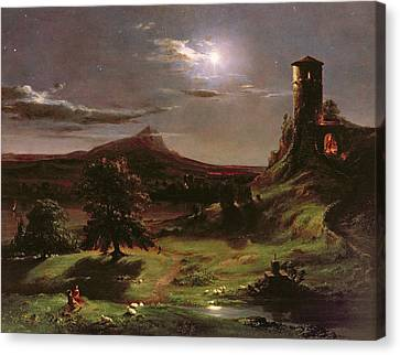 Landscape - Moonlight Canvas Print by Thomas Cole