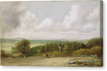 Landscape - Ploughing Scene In Suffolk Canvas Print by John Constable