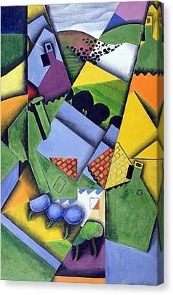 Landscape And Houses At Ceret Canvas Print by Juan Gris