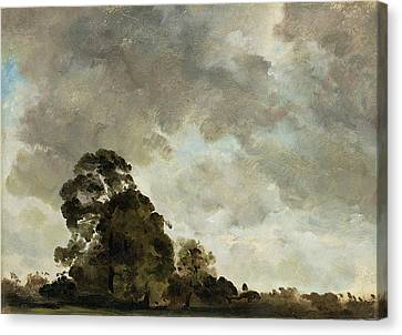 Landscape At Hampstead - Tree And Storm Clouds Canvas Print by John Constable