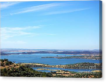 Landscape Of Alqueva Lake Near Monsaraz Village. Canvas Print by Inacio Pires