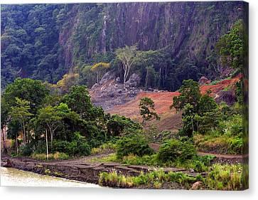 Landscape On The Culebra Cut Canvas Print by Linda Phelps