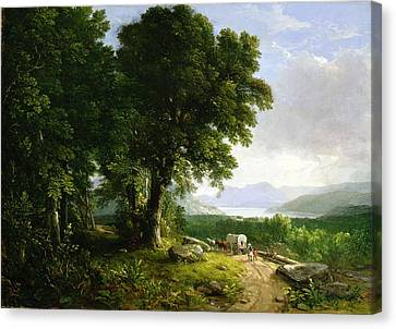 Landscape With Covered Wagon Canvas Print