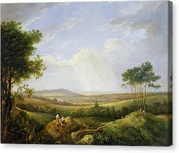 Landscape With Figure Canvas Print - Landscape With Figures  by Captain Thomas Hastings