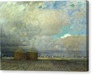 Landscape With Huts Canvas Print by Leopold Karl Walter von Kalckreuth