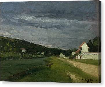 Landscape With Stormy Sky Canvas Print by Camille Pissarro