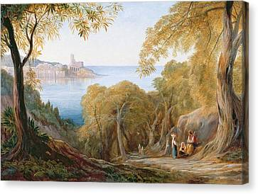 Landscape With View Of Lerici Canvas Print by Edward Lear