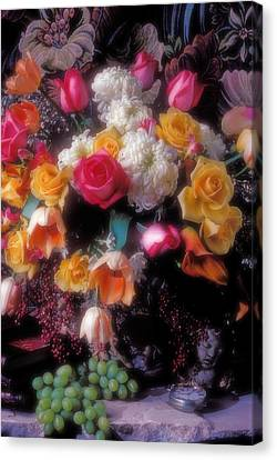 Tapestries - Textiles Canvas Print - Large Bouquet Of Flowers by Garry Gay