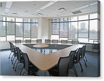 Large Empty Boardroom. A Long Narrow Canvas Print by Marlene Ford