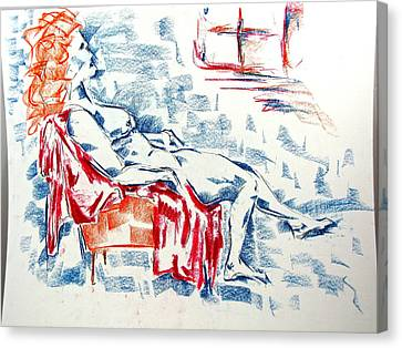 Canvas Print featuring the pastel Large Women In A Small Orange Chair by Brian Sereda