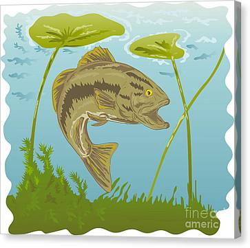 Largemouth Bass Jumping Canvas Print by Aloysius Patrimonio