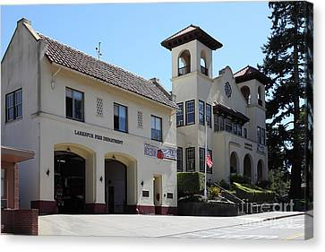 Larkspur Fire Department And City Hall - Larkspur California - 5d18502 Canvas Print by Wingsdomain Art and Photography