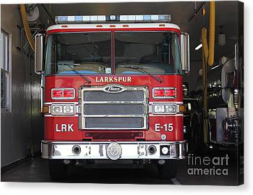 Larkspur Fire Department Fire Engine - Larkspur California - 5d18474 Canvas Print by Wingsdomain Art and Photography