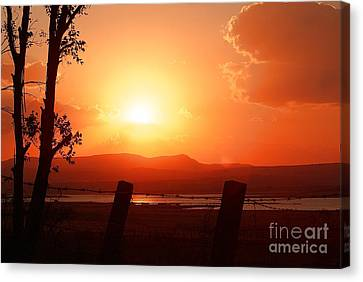 Canvas Print featuring the digital art Las Frailes Sunset by John  Kolenberg
